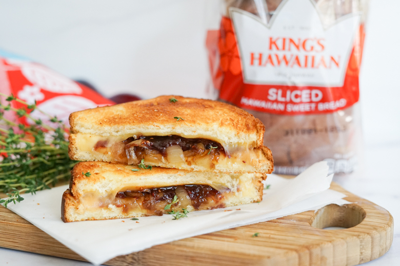 This Air Fryer Grilled Cheese with Gouda, Caramelized Onions & Jam is the sandwich melt you've been craving!