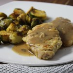 Breaded Pork Chops with Roasted Balsamic Brussels Sprouts