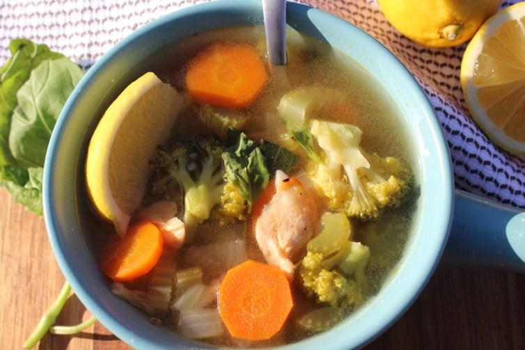 Lemon Basil Chicken Detox Soup