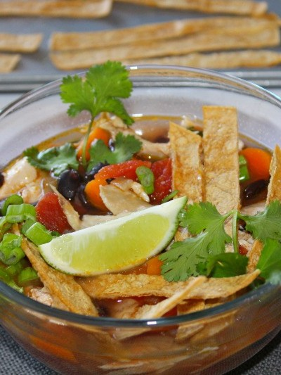 Healthy Chicken Poblano Tortilla Soup