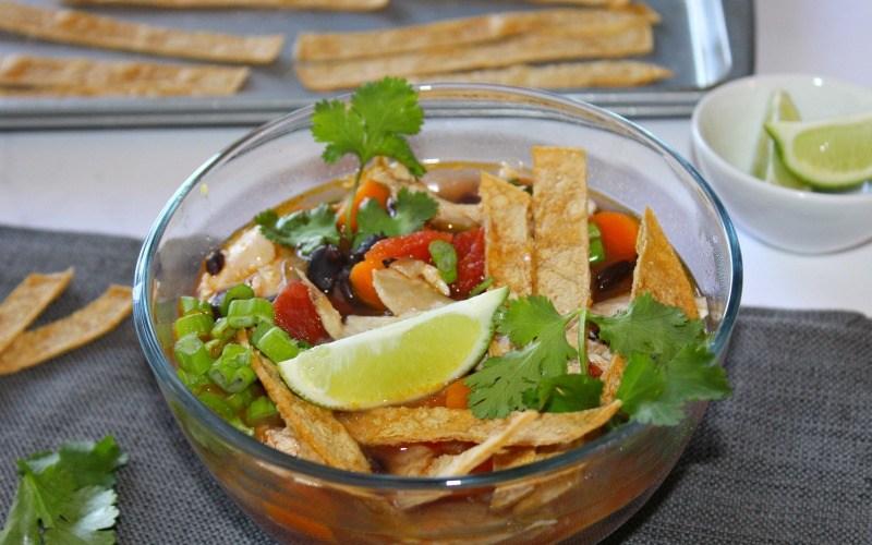 Healthy Chicken Poblano Tortilla Soup