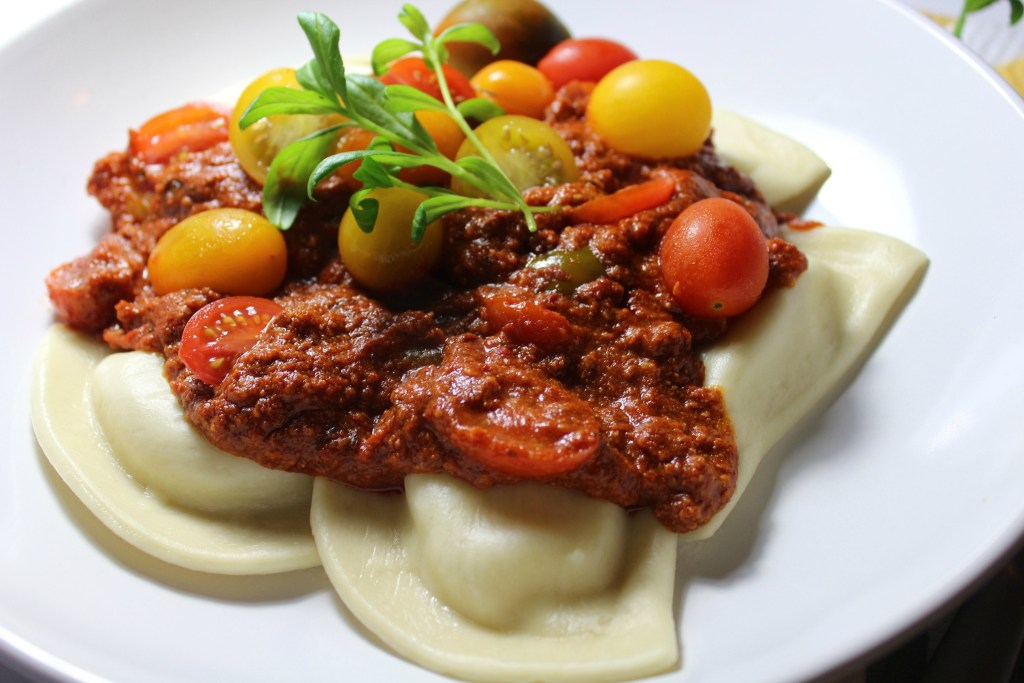 Pierogi with Meat Sauce