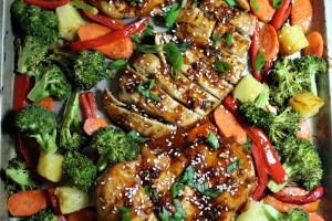 One Sheet Pan Sesame Teriyaki Chicken and Veggies