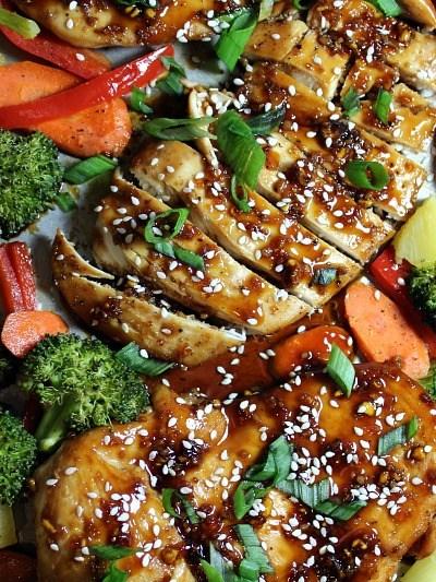 One Sheet Pan Sesame Teriyaki Chicken and Veggies