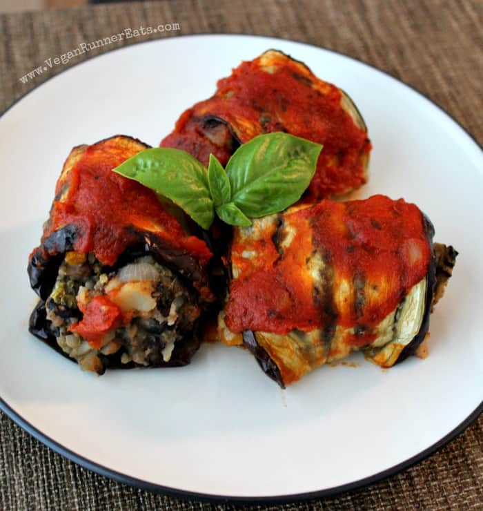 Eggplant Roll Ups with Black Bean Potato Filling