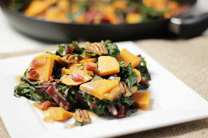 Sweet Potatoes with Swiss Chard