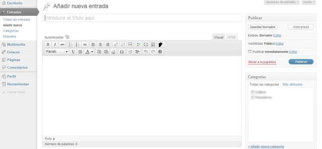 Escribir nueva entrada en WordPress