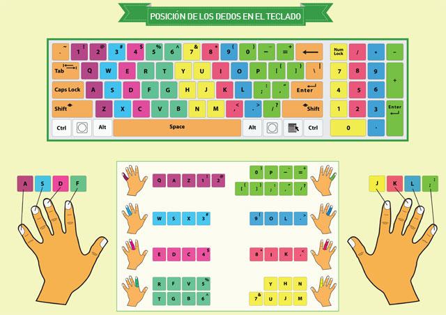 Posición de los dedos en las teclas de un teclado para aprender a mecanografíar