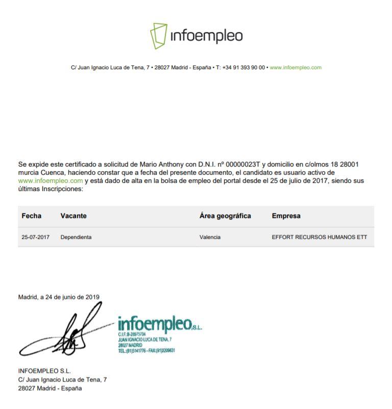Conseguir el certificado BAE en Infoempleo