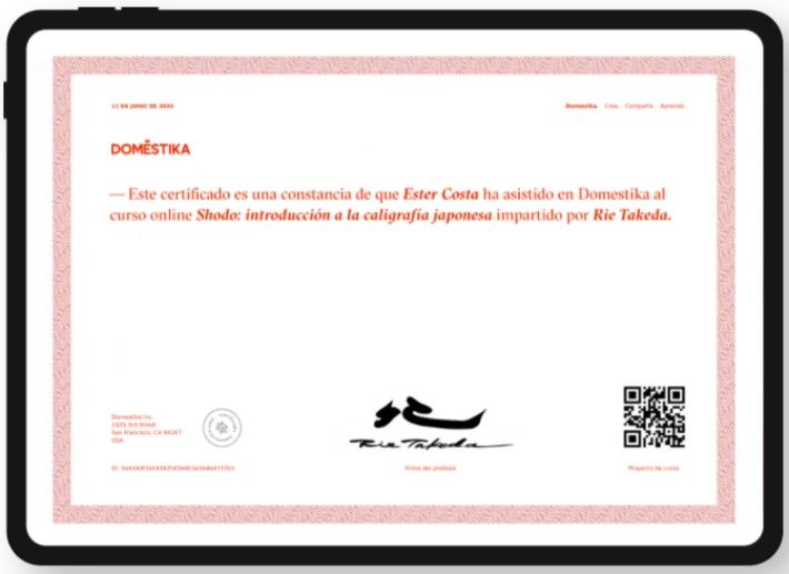 Así son los certificados que Domestika incluye en cada curso
