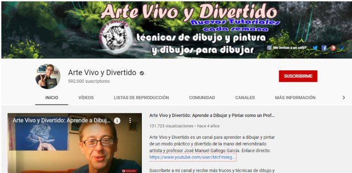 captura de un canal de YouTube de clases de dibujo