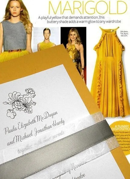 Chic yellow and grey wedding invitations