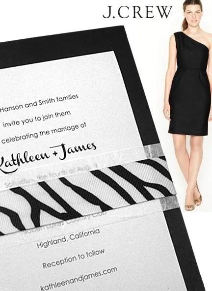 Modern Jet Black Zebra Wedding Invitations