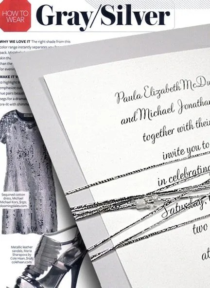 Glam Gray and Silver Beaded Invitations
