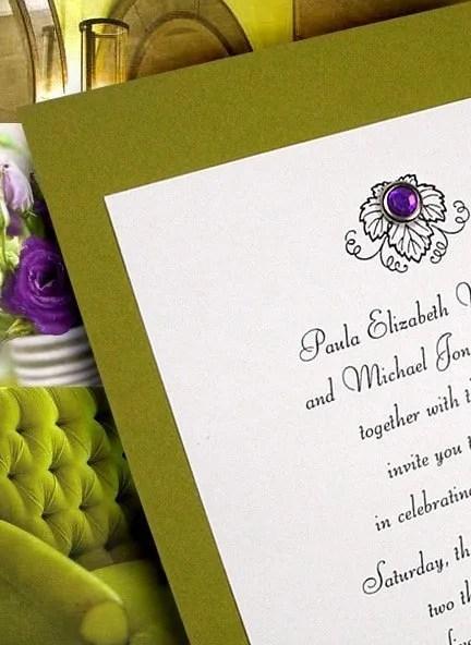 Apple Green Wedding Invitation Ideas with Amethyst Crystal Brad