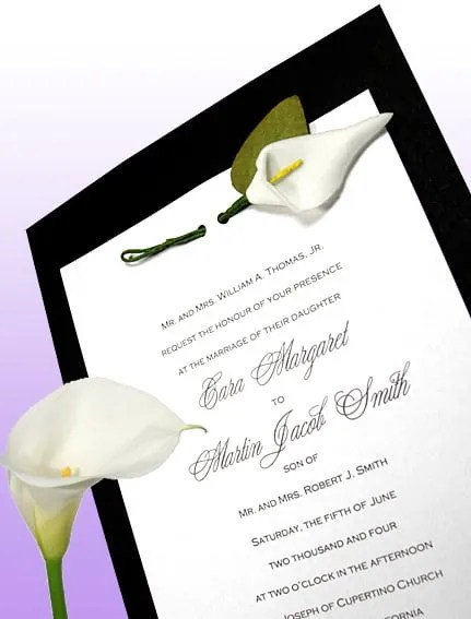Geous Black And White Wedding Invitations With Miniature Calla Lily Silk Flower