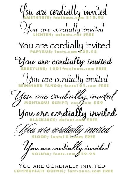 Wedding Invitation Typeface And Font