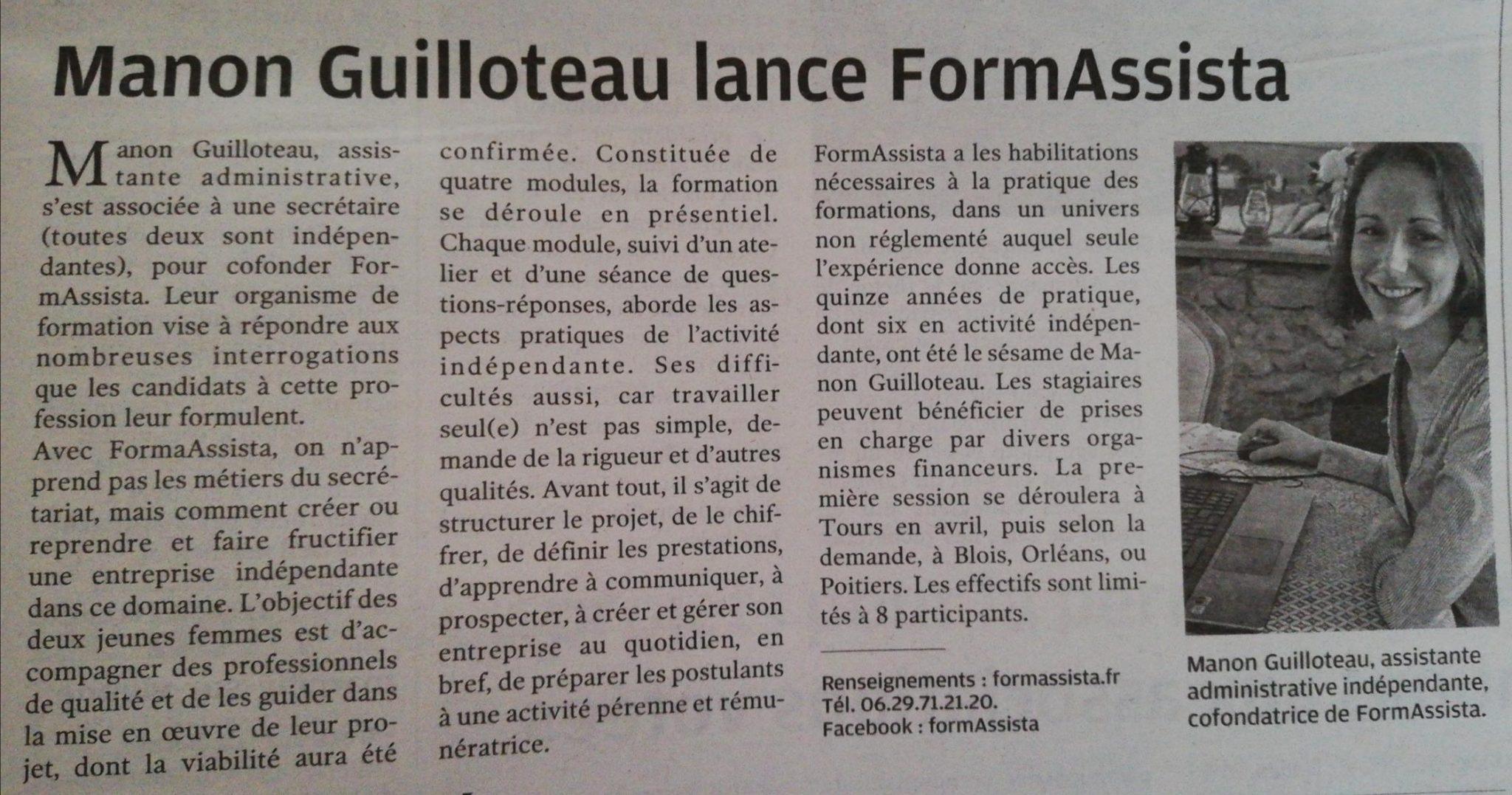 Article Nouvelle République lancement FormAssista page avis et satisfaction des stagiaires