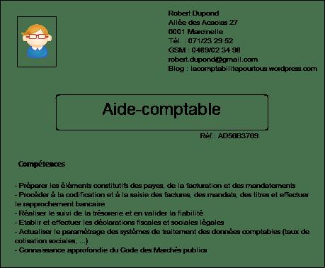Illustration d'un CV d'aide-comptable avec l'adresse, la fonction recherchée et les compétences