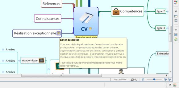 Utilisation des notes explicatives dans le modèle de cv mindmap réalisé avec XMind