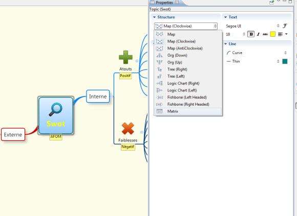 XMind - changement de structure de la mindmap au tableau ou matrice d'un simple clic dans le menu Structure de XMind, logiciel de mindmapping