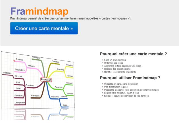Ecran d'accueil de l'application en ligne et collaborative