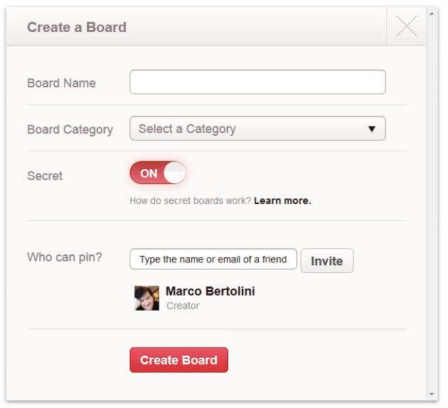 Menu Create a board dans Pinterest avec l'option Secret pour une certaine discrétion