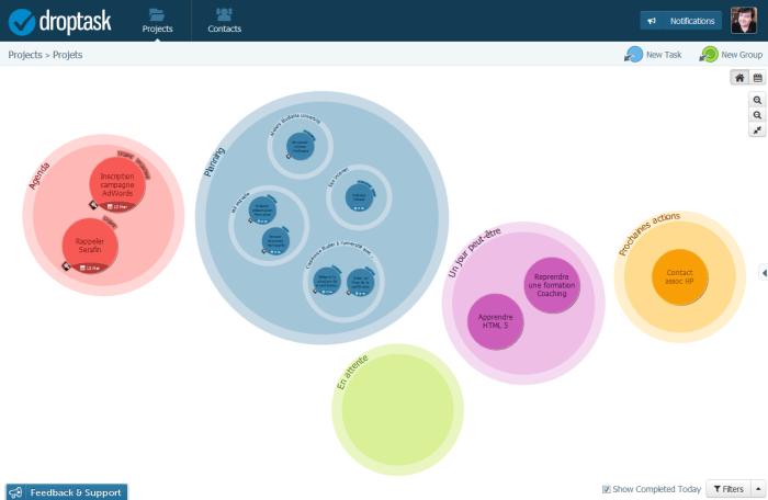 Droptask : vue par projets et bulles GTD