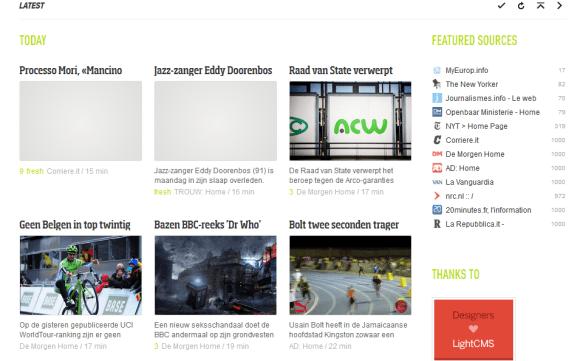 Vue en mosaïque du fil dernières actualités de l'agrégateur Feedly