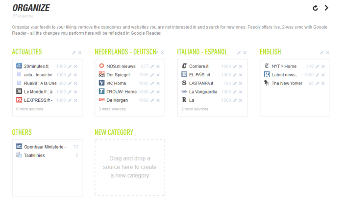 le menu organize permet de classer ses flux RSS en catégories dans Feedly