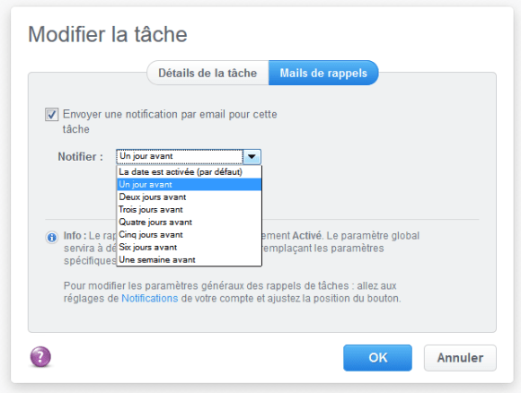 Menu de sélection de la date de rappel d'une tâche par email dans MindMeister