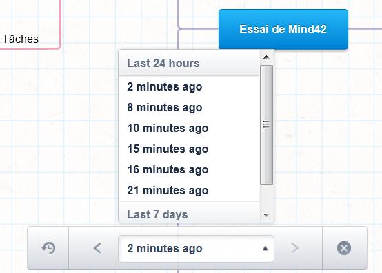 Sélection des différentes versions de la mindmap réalisée avec Mind42