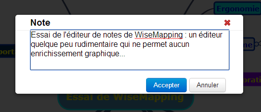 Editeurs de notes de Wisemapping, logiciel gratuit de mindmapping
