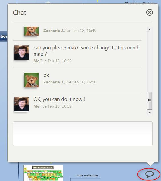 Chat sur Mindomo pendant une collaboration en temps réel (synchrone) sur une même carte mentale