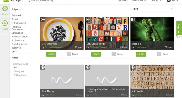 La biblothèque de Cerego : ensemble de jeux de flashcards disponibles pour la mémorisation à long terme