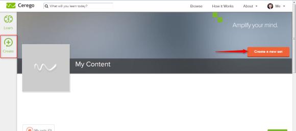 """Ecran d'accueil de la partie """"Créer"""" dans l'application de flashcards en ligne Cerego"""