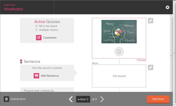 Ecran de synthèse des différentes associations possibles avec une flashcard de vocabulaire : phrase type, son, image