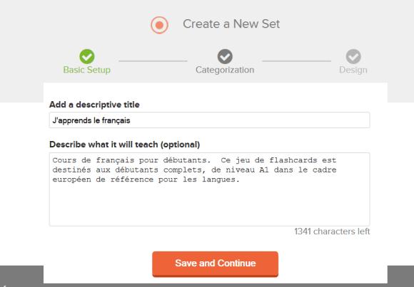 Ajoutez un titre et une description à votre nouveau jeu de flashcards dans Cerego