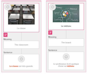 Sythèse des deux premières flashcards de vocabulaire et de leurs associations : image, son, phrase-type
