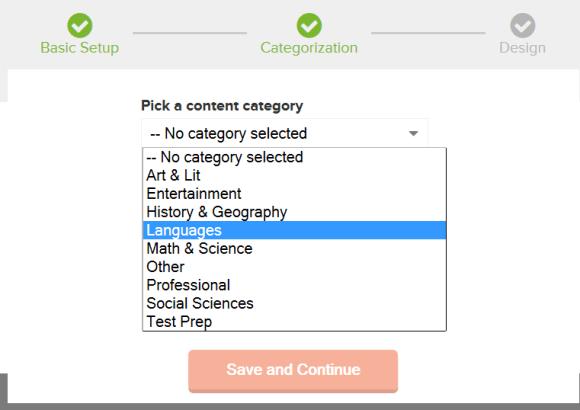 Sélectionnez une catégorie pour caractériser votre jeu de flashcards sur Cerego
