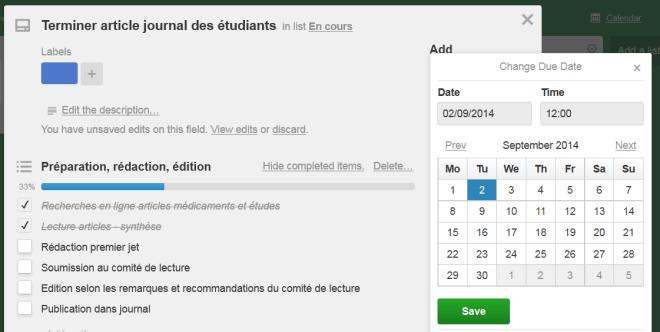 Ajout ou modification d'une date d'échéance (deadline) dans une carte Trello