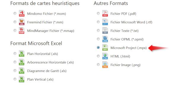 Exportez les informations de tâches de votre mindmap Mindomo au format MS Project
