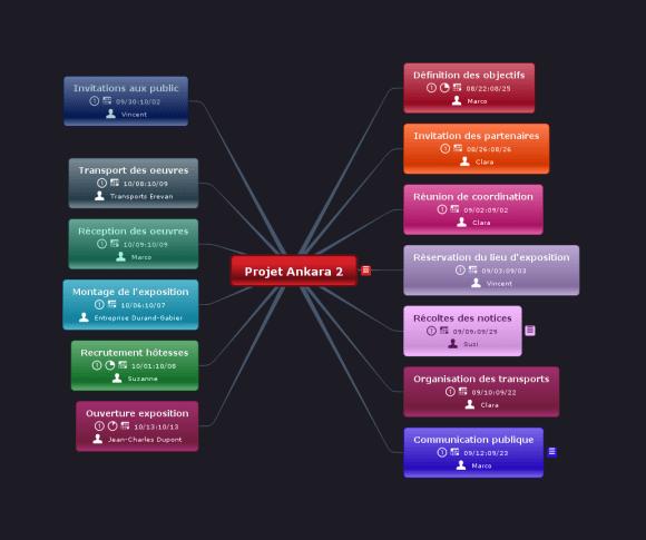 Carte mentale réalisée avec le logiciel de mindmapping Mindomo : gestion d'un projet d'exposition