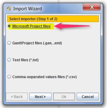 """Dans le logiciel de gestion de projet GanttProject, sélectionnez l'option """"Import Microsoft Project Files"""""""