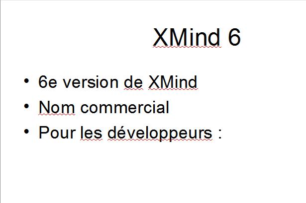 Diapositive avec liste à puces résultant de l'export d'une mindmap XMind 6  dans Impress d'open office