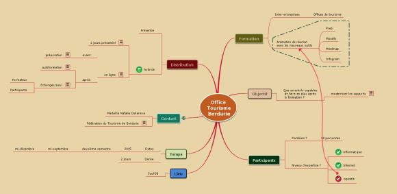 Mindmap Mindomo dans laquelle j'ai enregistré les réponses de mon prospect afin de structurer mon offre commerciale