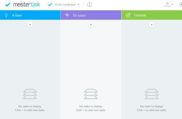 Tableau kanban vide de l'application de gestion de projet en ligne Meistertask