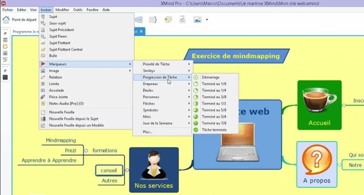 Comment insérer des marqueurs dans une carte mentale créée avec XMind 7, application de la formation je maîtrise XMind 7