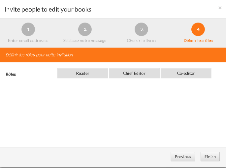 Omnibook : fenêtre de dialogue - définition des rôles pour les collaborateurs inviter à la co-rédaction d'un livre