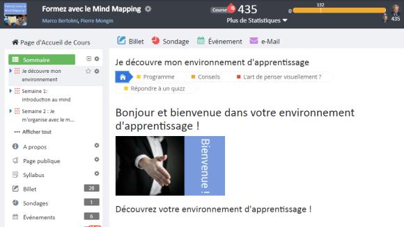 Page d'accueil de la formation Formez avec le Mindmapping sur la plateforme d'elearning